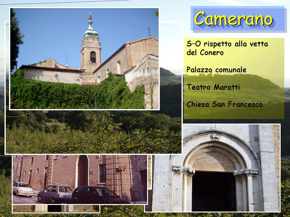 CameranoCamerano S–O rispetto alla vetta del Conero Palazzo comunale Teatro Maratti Chiesa San Francesco