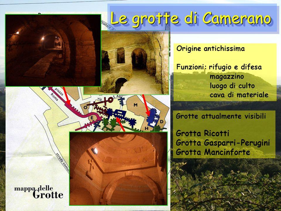 Origine antichissima Funzioni: rifugio e difesa magazzino luogo di culto cava di materiale Grotte attualmente visibili Grotta Ricotti Grotta Gasparri-