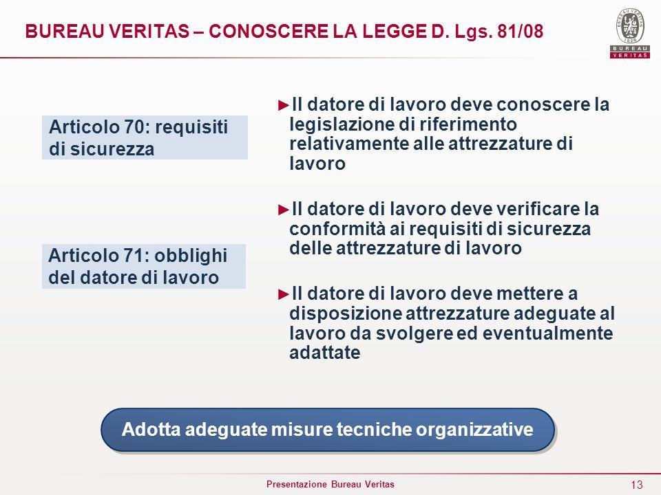 13 Presentazione Bureau Veritas BUREAU VERITAS – CONOSCERE LA LEGGE D. Lgs. 81/08 Articolo 70: requisiti di sicurezza Articolo 71: obblighi del datore
