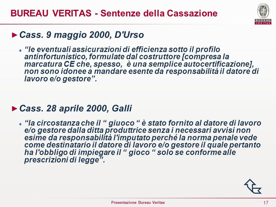 17 Presentazione Bureau Veritas BUREAU VERITAS - Sentenze della Cassazione Cass. 9 maggio 2000, D'Urso le eventuali assicurazioni di efficienza sotto