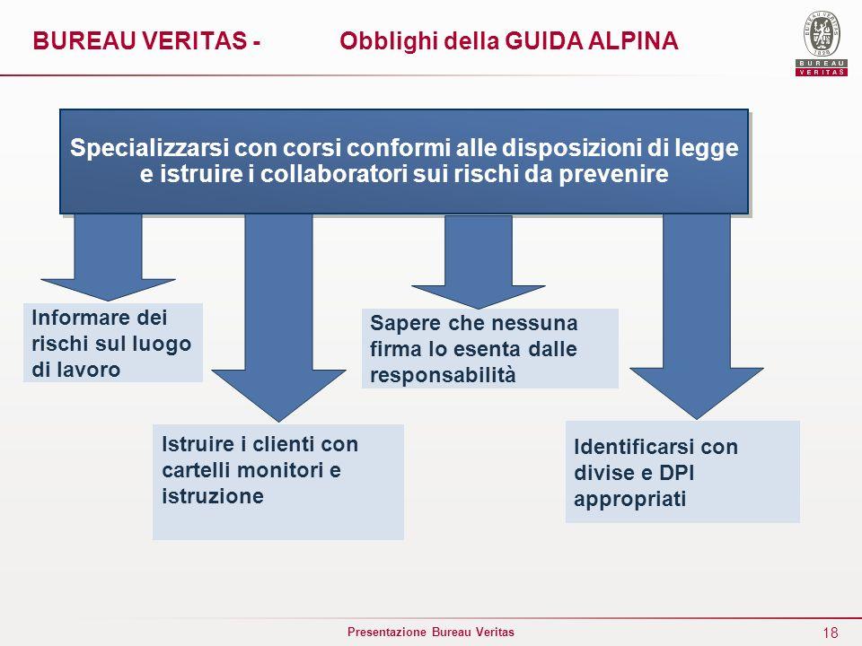 18 Presentazione Bureau Veritas BUREAU VERITAS - Obblighi della GUIDA ALPINA Specializzarsi con corsi conformi alle disposizioni di legge e istruire i