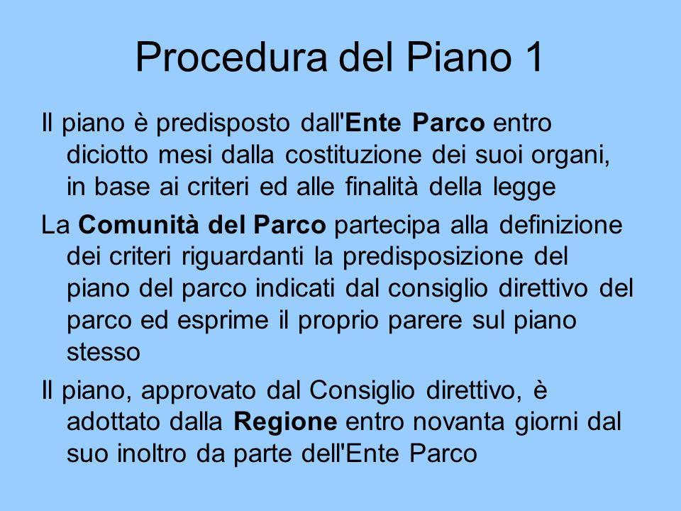 Procedura del Piano 1 Il piano è predisposto dall'Ente Parco entro diciotto mesi dalla costituzione dei suoi organi, in base ai criteri ed alle finali