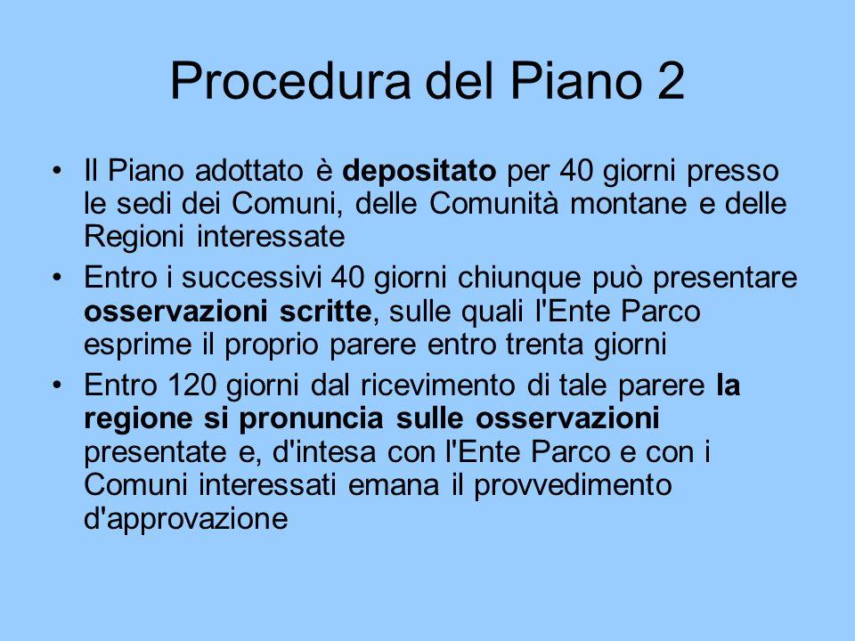 Procedura del Piano 2 Il Piano adottato è depositato per 40 giorni presso le sedi dei Comuni, delle Comunità montane e delle Regioni interessate Entro