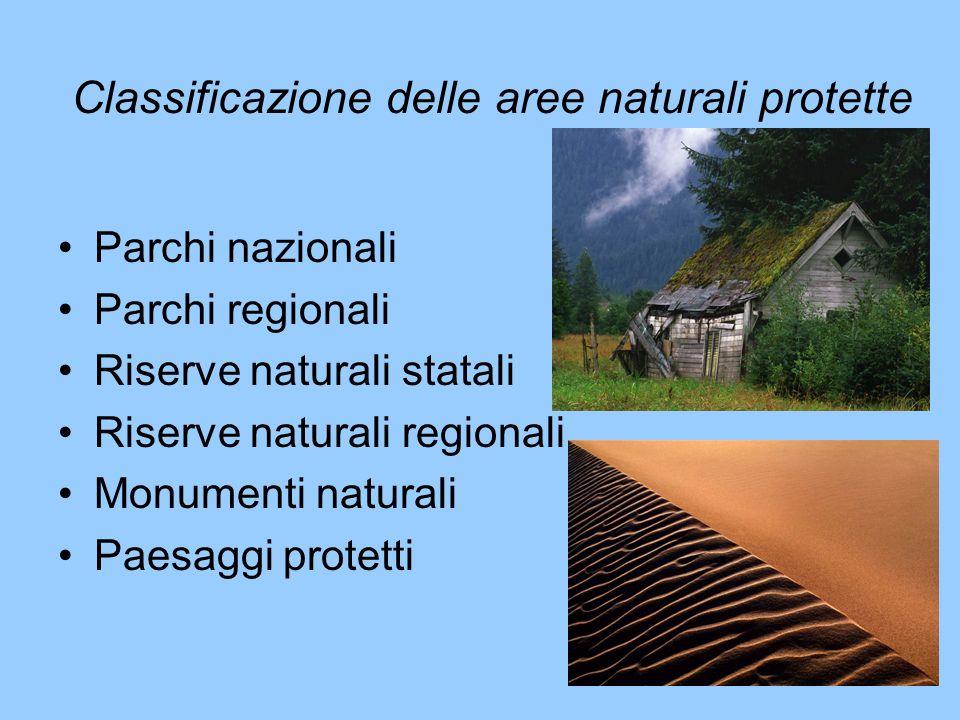 Classificazione delle aree naturali protette Parchi nazionali Parchi regionali Riserve naturali statali Riserve naturali regionali Monumenti naturali