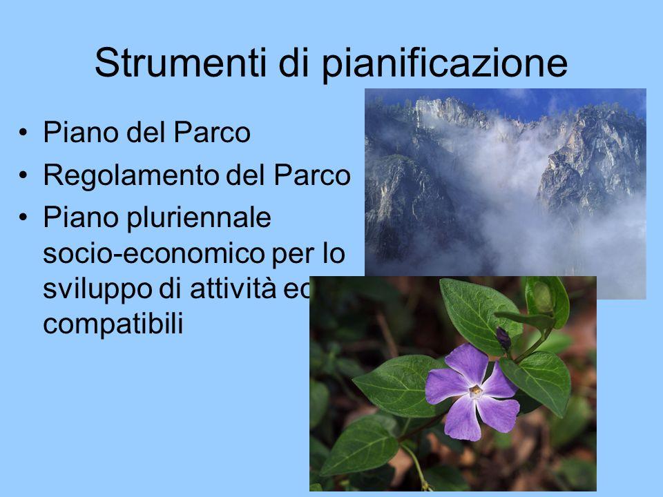 Strumenti di pianificazione Piano del Parco Regolamento del Parco Piano pluriennale socio-economico per lo sviluppo di attività eco- compatibili