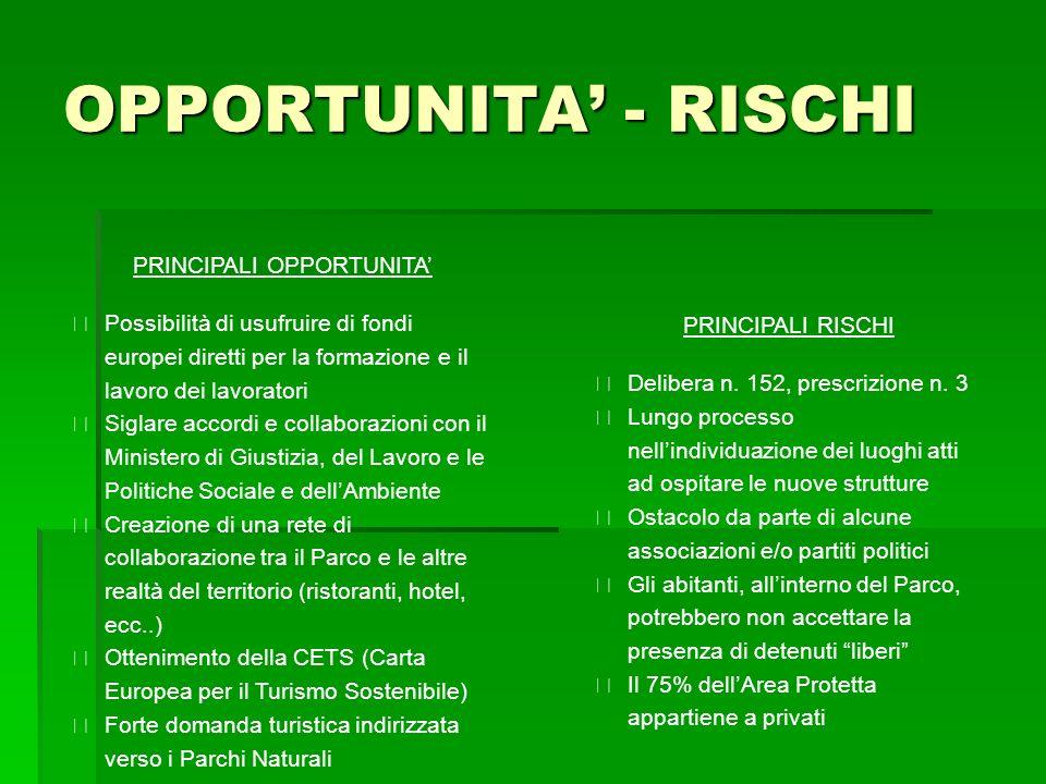 OPPORTUNITA - RISCHI PRINCIPALI OPPORTUNITA Possibilità di usufruire di fondi europei diretti per la formazione e il lavoro dei lavoratori Siglare acc