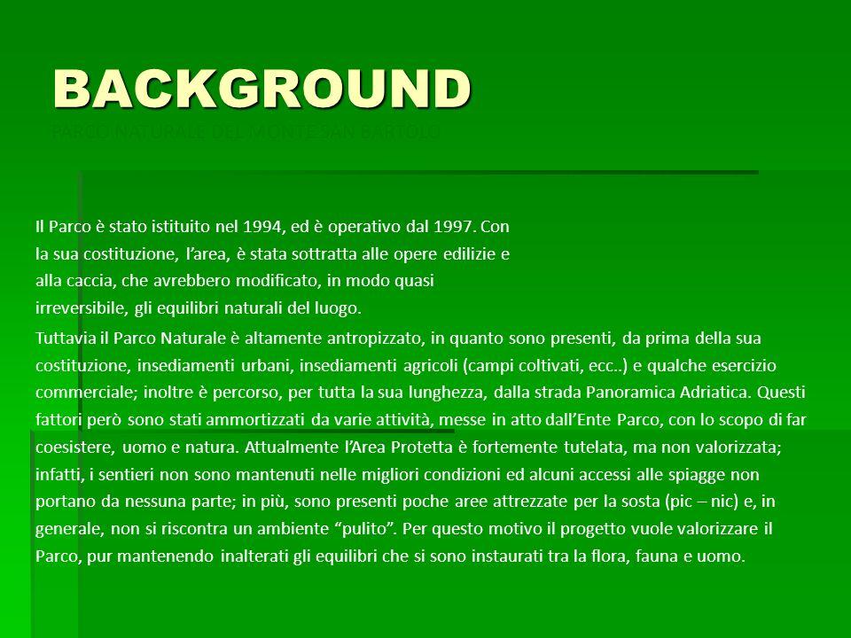 BACKGROUND PARCO NATURALE DEL MONTE SAN BARTOLO Il Parco è stato istituito nel 1994, ed è operativo dal 1997. Con la sua costituzione, larea, è stata