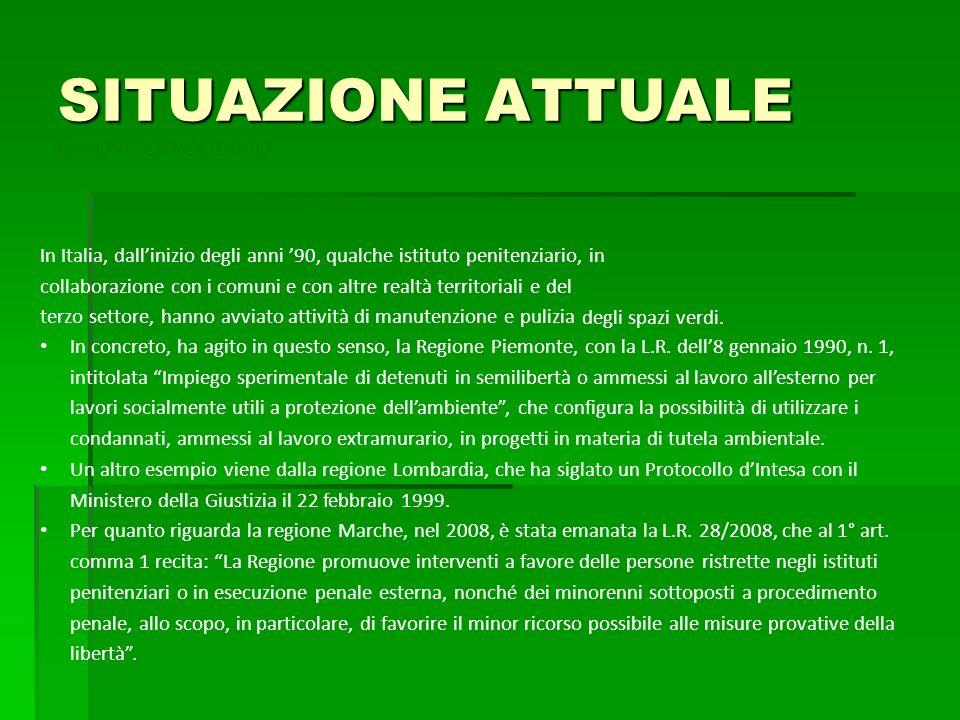 SITUAZIONE ATTUALE LAVORO CARCERARIO In Italia, dallinizio degli anni 90, qualche istituto penitenziario, in collaborazione con i comuni e con altre r