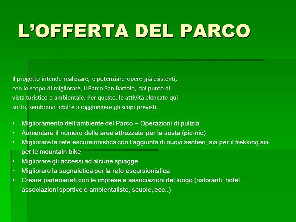 LOFFERTA DEL PARCO Il progetto intende realizzare, e potenziare opere già esistenti, con lo scopo di migliorare, il Parco San Bartolo, dal punto di vi