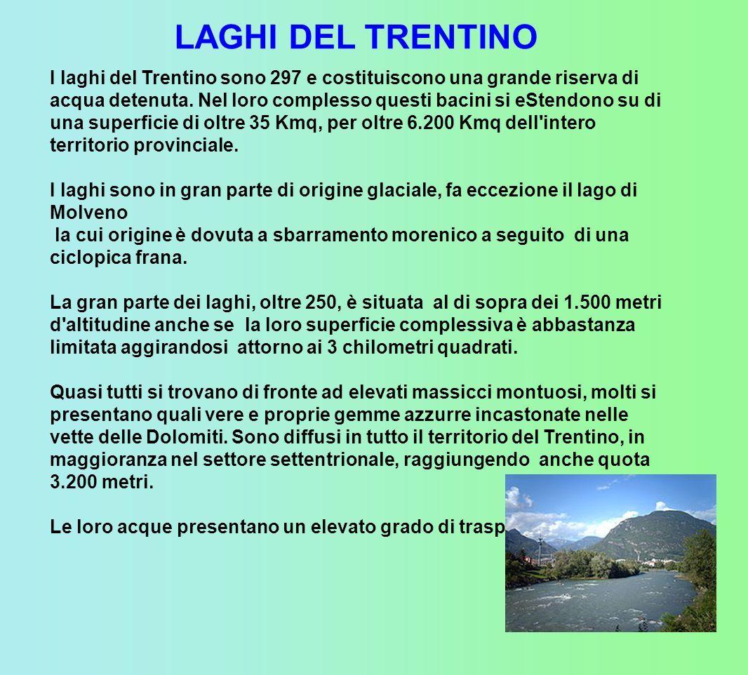 I laghi del Trentino sono 297 e costituiscono una grande riserva di acqua detenuta.