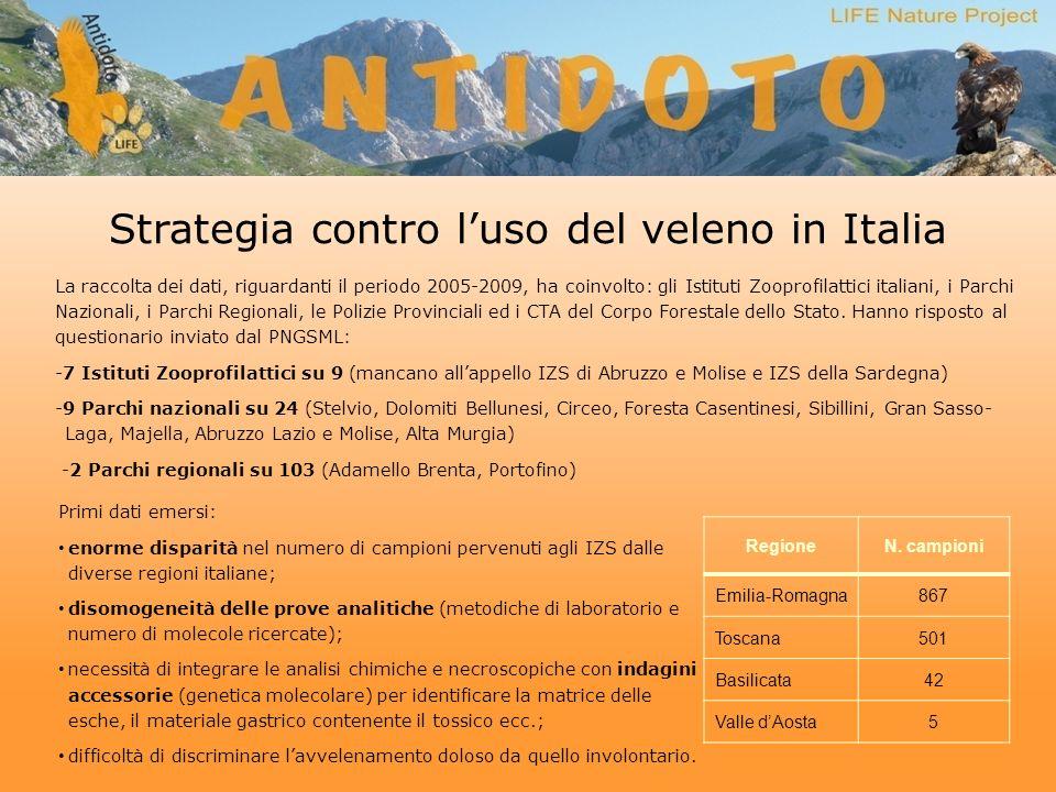 Strategia contro luso del veleno in Italia La raccolta dei dati, riguardanti il periodo 2005-2009, ha coinvolto: gli Istituti Zooprofilattici italiani, i Parchi Nazionali, i Parchi Regionali, le Polizie Provinciali ed i CTA del Corpo Forestale dello Stato.