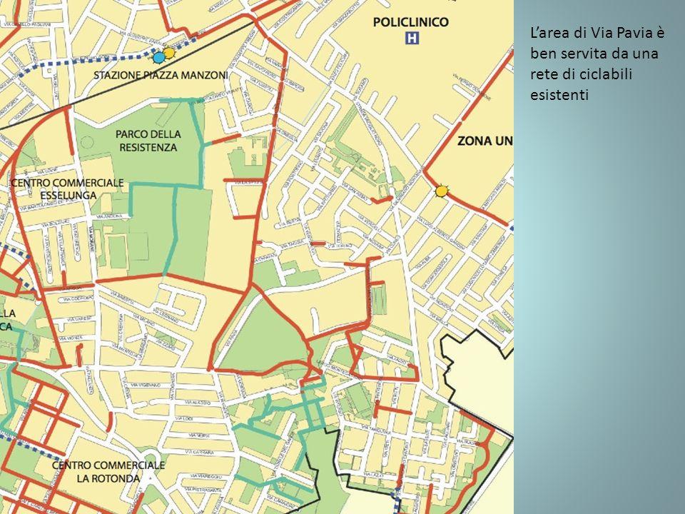 Larea di Via Pavia è ben servita da una rete di ciclabili esistenti