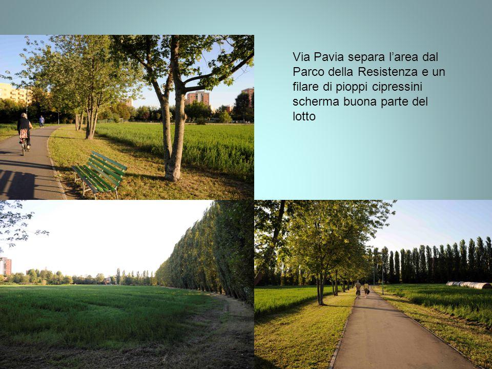 Via Pavia separa larea dal Parco della Resistenza e un filare di pioppi cipressini scherma buona parte del lotto