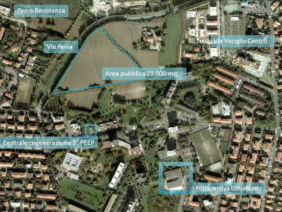 Centrale cogenerazione 3° PEEP Area pubblica 23.000 mq Polisportiva Gino Nasi Via Vaciglio Centro Via Pavia Parco Resistenza