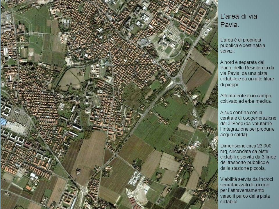 Larea di via Pavia. Larea è di proprietà pubblica e destinata a servizi. A nord è separata dal Parco della Resistenza da via Pavia, da una pista cicla