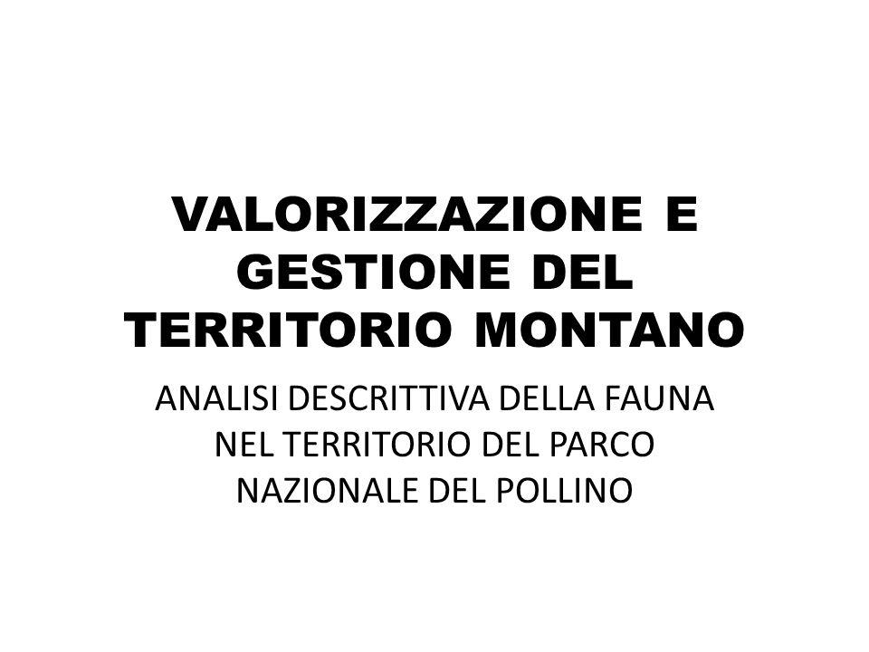 VALORIZZAZIONE E GESTIONE DEL TERRITORIO MONTANO ANALISI DESCRITTIVA DELLA FAUNA NEL TERRITORIO DEL PARCO NAZIONALE DEL POLLINO
