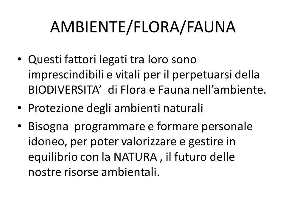AMBIENTE/FLORA/FAUNA Questi fattori legati tra loro sono imprescindibili e vitali per il perpetuarsi della BIODIVERSITA di Flora e Fauna nellambiente.