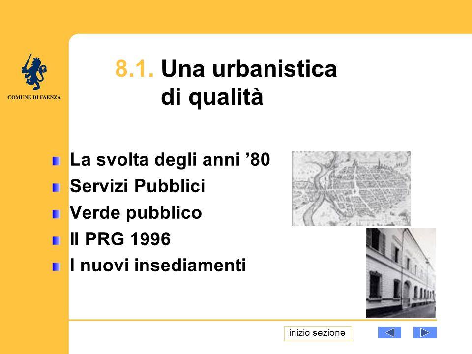 8.1. Una urbanistica di qualità La svolta degli anni 80 Servizi Pubblici Verde pubblico Il PRG 1996 I nuovi insediamenti inizio sezione