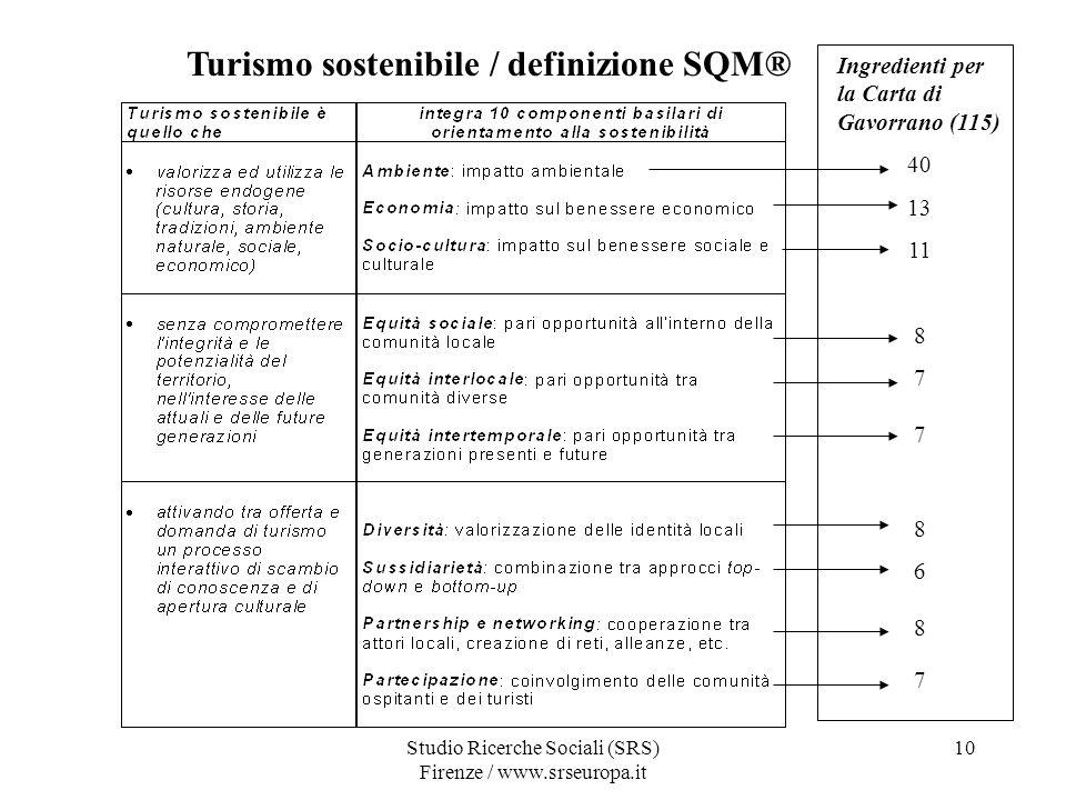 Studio Ricerche Sociali (SRS) Firenze / www.srseuropa.it 10 Turismo sostenibile / definizione SQM® Ingredienti per la Carta di Gavorrano (115) 40 13 11 8 7 8 6 8 7