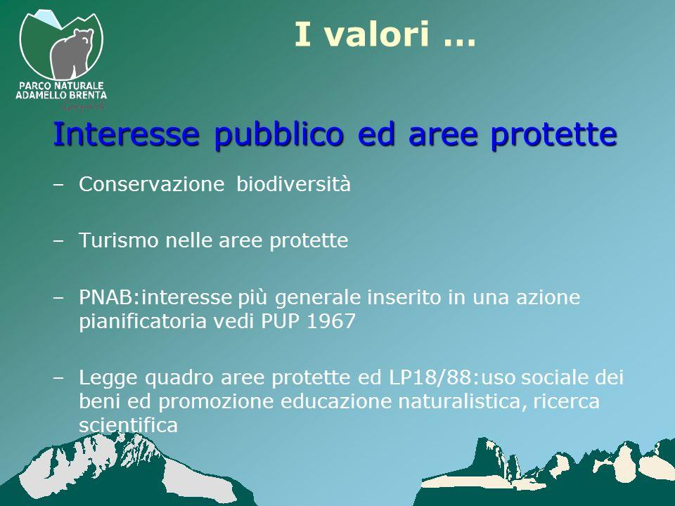 –Conservazione biodiversità –Turismo nelle aree protette –PNAB:interesse più generale inserito in una azione pianificatoria vedi PUP 1967 –Legge quadr