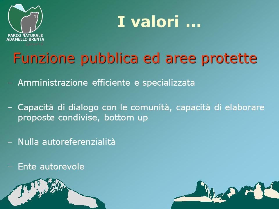 I valori … –Amministrazione efficiente e specializzata –Capacità di dialogo con le comunità, capacità di elaborare proposte condivise, bottom up –Null