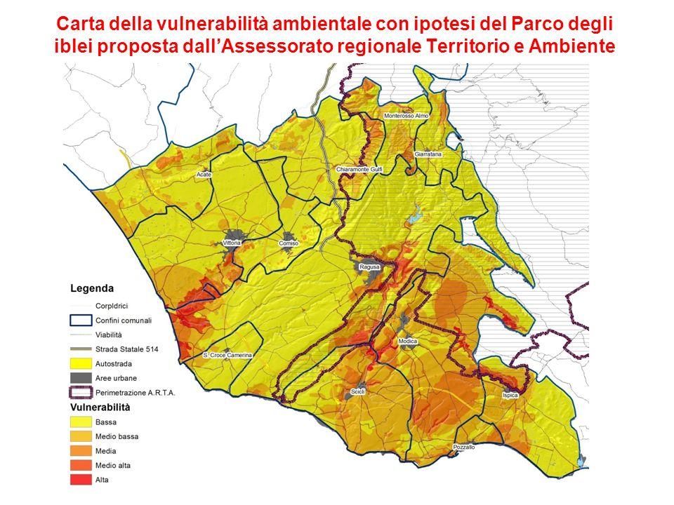Carta della vulnerabilità ambientale con ipotesi del Parco degli iblei proposta dallAssessorato regionale Territorio e Ambiente