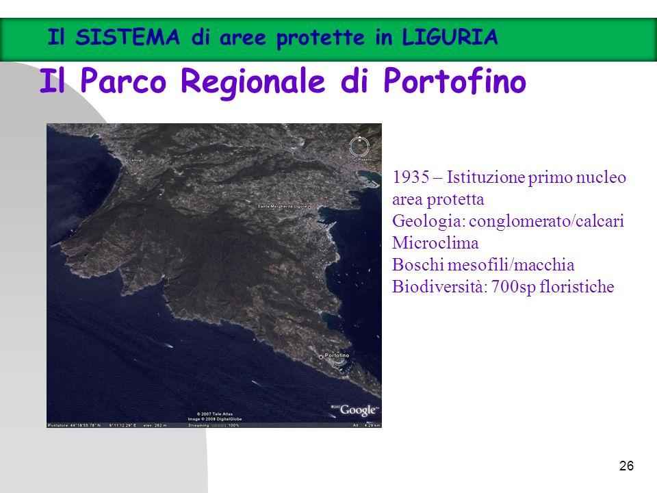 26 Il SISTEMA di aree protette in LIGURIA Il Parco Regionale di Portofino 1935 – Istituzione primo nucleo area protetta Geologia: conglomerato/calcari