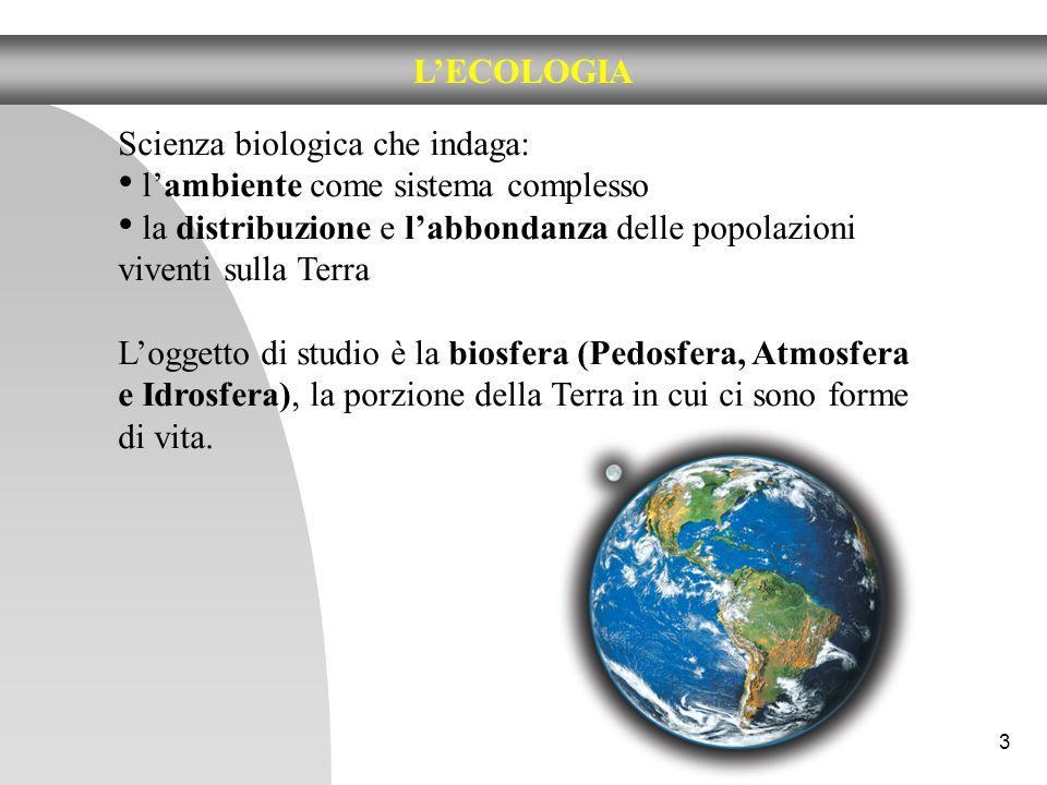 3 LECOLOGIA Scienza biologica che indaga: lambiente come sistema complesso la distribuzione e labbondanza delle popolazioni viventi sulla Terra Logget