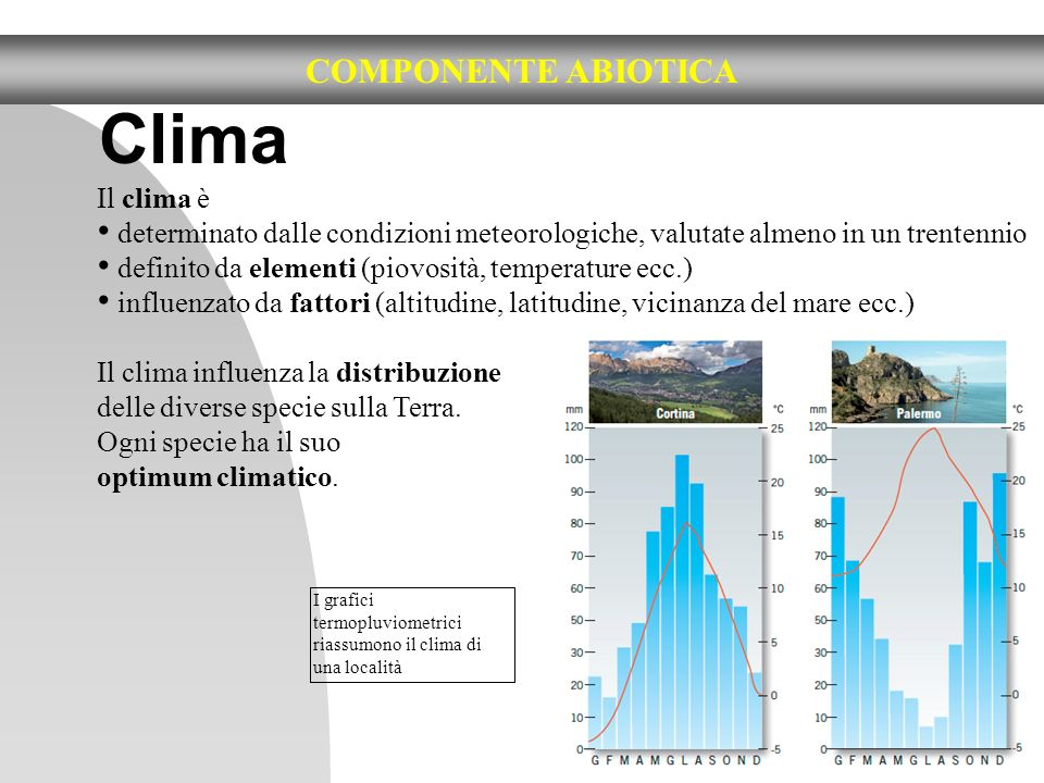 8 COMPONENTE ABIOTICA Clima Il clima è determinato dalle condizioni meteorologiche, valutate almeno in un trentennio definito da elementi (piovosità,