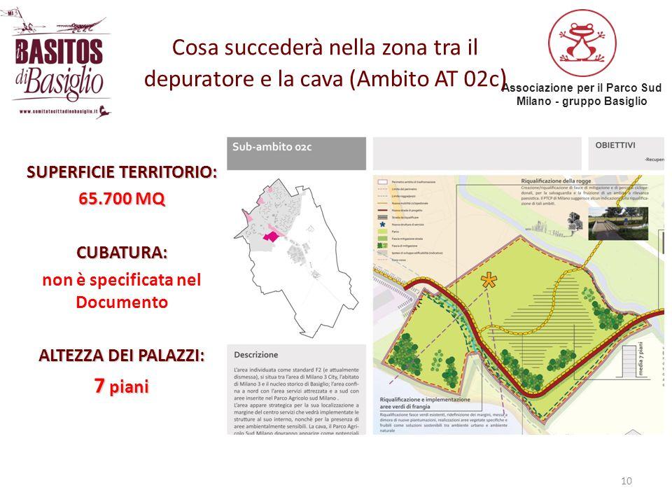 Associazione per il Parco Sud Milano - gruppo Basiglio 10 Cosa succederà nella zona tra il depuratore e la cava (Ambito AT 02c ) SUPERFICIE TERRITORIO