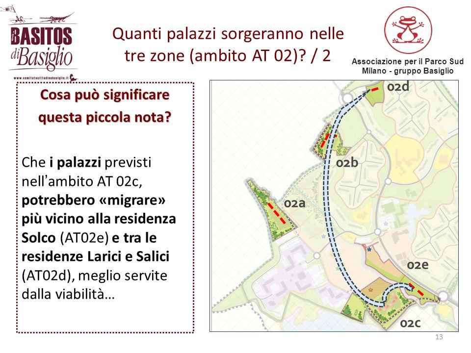 Associazione per il Parco Sud Milano - gruppo Basiglio 13 Quanti palazzi sorgeranno nelle tre zone (ambito AT 02)? / 2 Cosa può significare questa pic