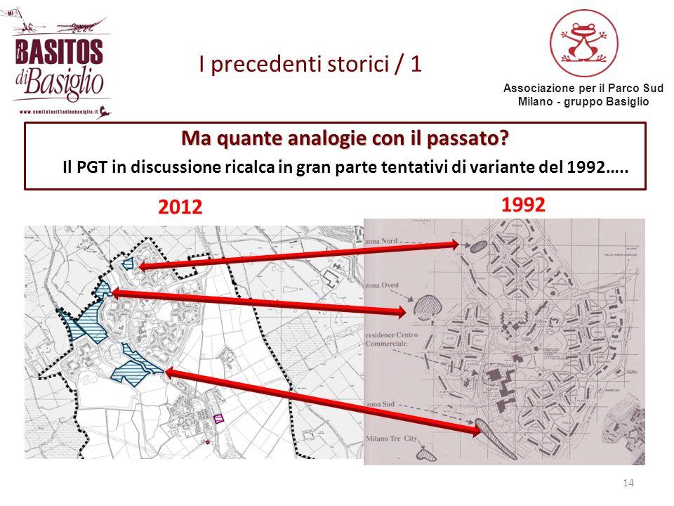 Associazione per il Parco Sud Milano - gruppo Basiglio I precedenti storici / 1 14 Ma quante analogie con il passato? Il PGT in discussione ricalca in