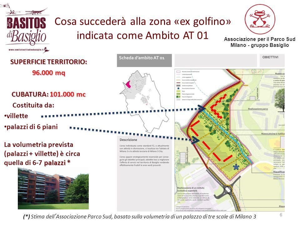 Associazione per il Parco Sud Milano - gruppo Basiglio Cosa succederà alla zona «ex golfino» indicata come Ambito AT 01 6 SUPERFICIE TERRITORIO: 96.00