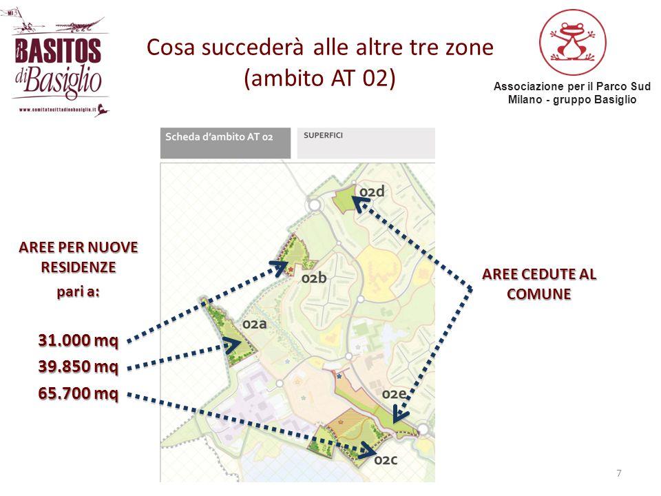 Associazione per il Parco Sud Milano - gruppo Basiglio 7 Cosa succederà alle altre tre zone (ambito AT 02) AREE PER NUOVE RESIDENZE pari a: 31.000 mq