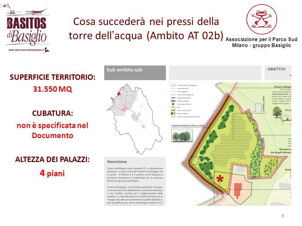 Associazione per il Parco Sud Milano - gruppo Basiglio 8 Cosa succederà nei pressi della torre dellacqua (Ambito AT 02b) SUPERFICIE TERRITORIO: 31.550