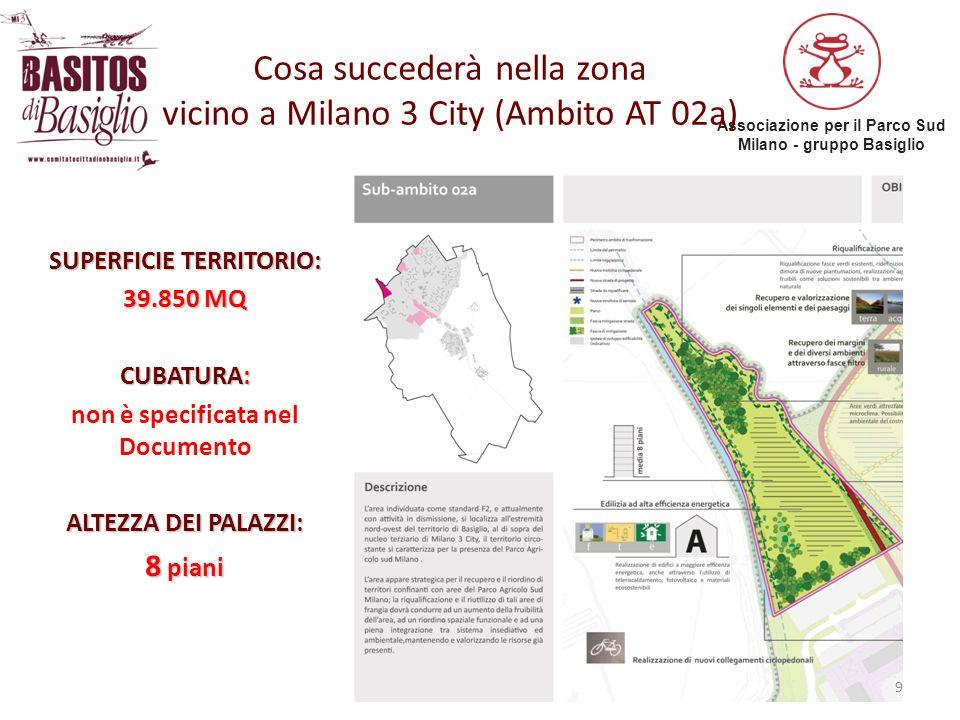 Associazione per il Parco Sud Milano - gruppo Basiglio Cosa succederà nella zona vicino a Milano 3 City (Ambito AT 02a) 9 SUPERFICIE TERRITORIO: 39.85