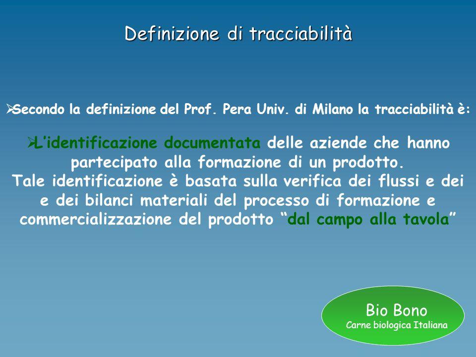 Bio Bono Carne biologica Italiana Definizione di tracciabilità Secondo la definizione del Prof. Pera Univ. di Milano la tracciabilità è: Lidentificazi