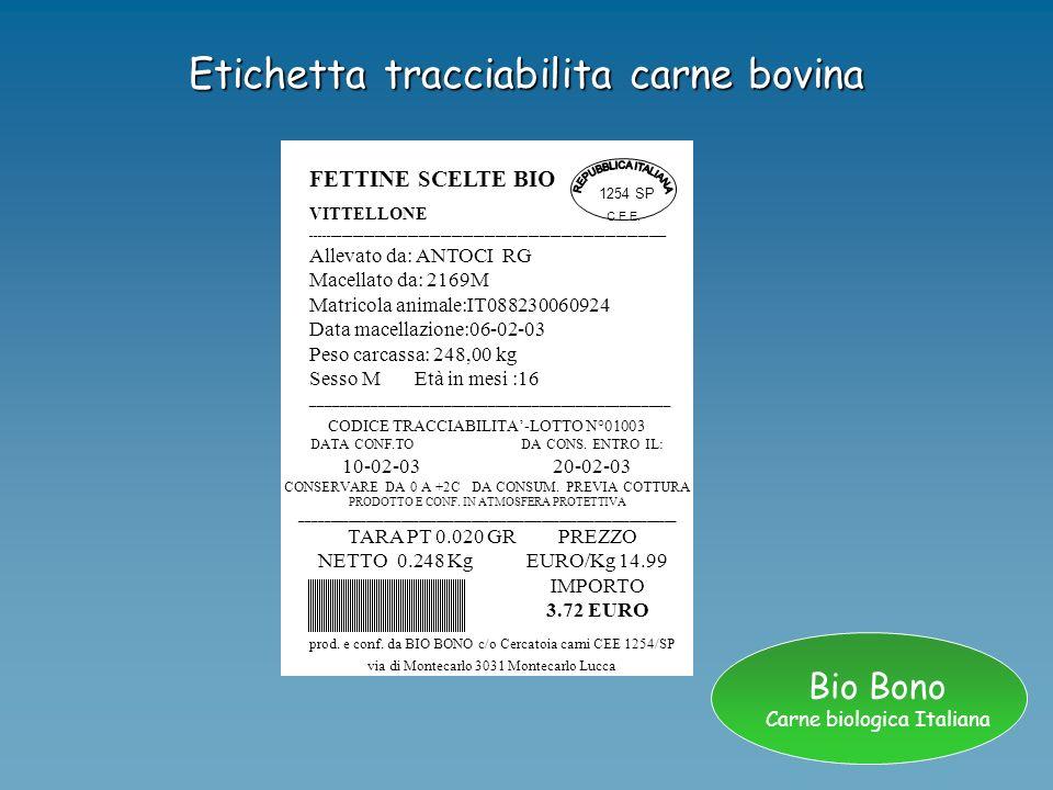 Bio Bono Carne biologica Italiana Ottimizzazione della tracciabilità Creazione di un sistema informatico e sicuro, e non manipolabile dalloperatore.