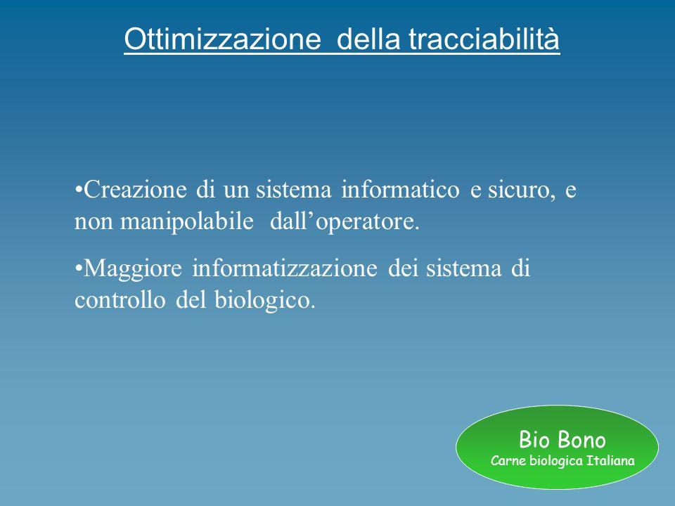 Bio Bono Carne biologica Italiana Ottimizzazione della tracciabilità Creazione di un sistema informatico e sicuro, e non manipolabile dalloperatore. M