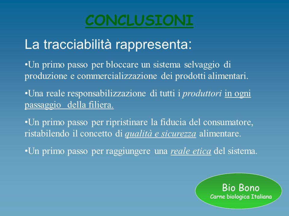Bio Bono Carne biologica Italiana CONCLUSIONI La tracciabilità rappresenta : Un primo passo per bloccare un sistema selvaggio di produzione e commerci