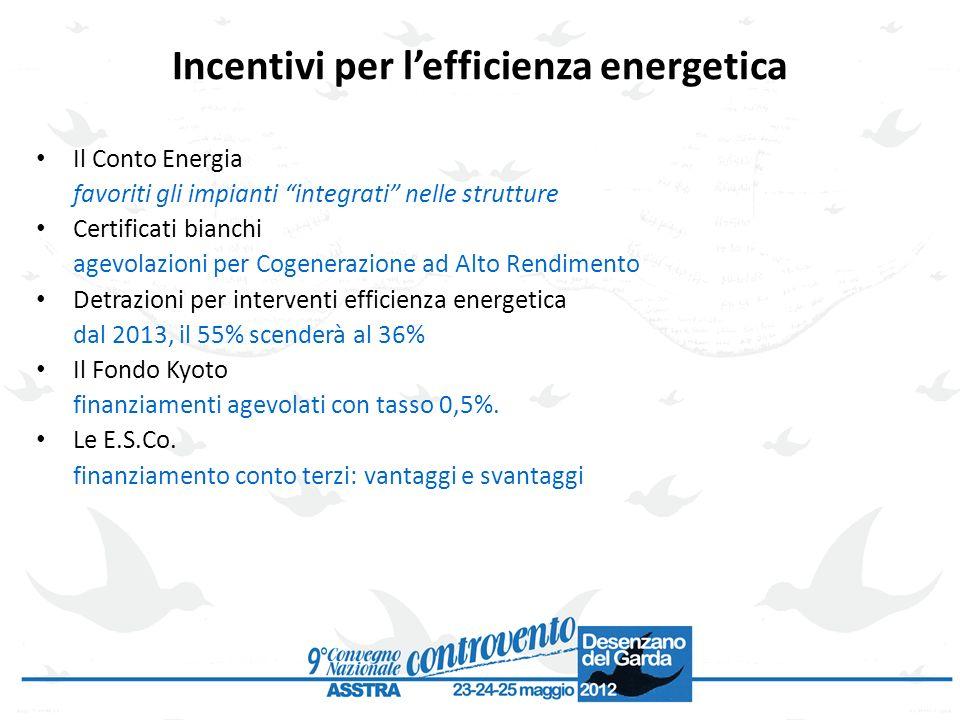 Incentivi per lefficienza energetica Il Conto Energia favoriti gli impianti integrati nelle strutture Certificati bianchi agevolazioni per Cogenerazio