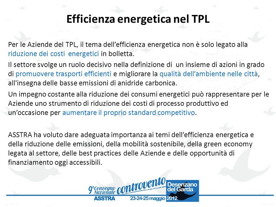 Efficienza energetica nel TPL Per le Aziende del TPL, il tema dellefficienza energetica non è solo legato alla riduzione dei costi energetici in bolle