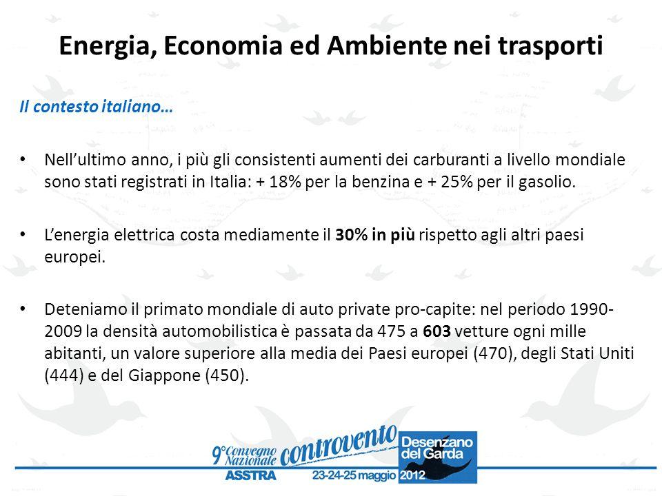 Energia, Economia ed Ambiente nei trasporti Il contesto italiano… Nellultimo anno, i più gli consistenti aumenti dei carburanti a livello mondiale son
