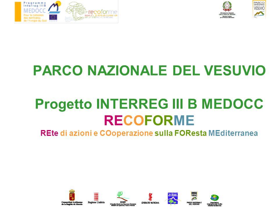 PARCO NAZIONALE DEL VESUVIO Progetto INTERREG III B MEDOCC RECOFORME REte di azioni e COoperazione sulla FOResta MEditerranea