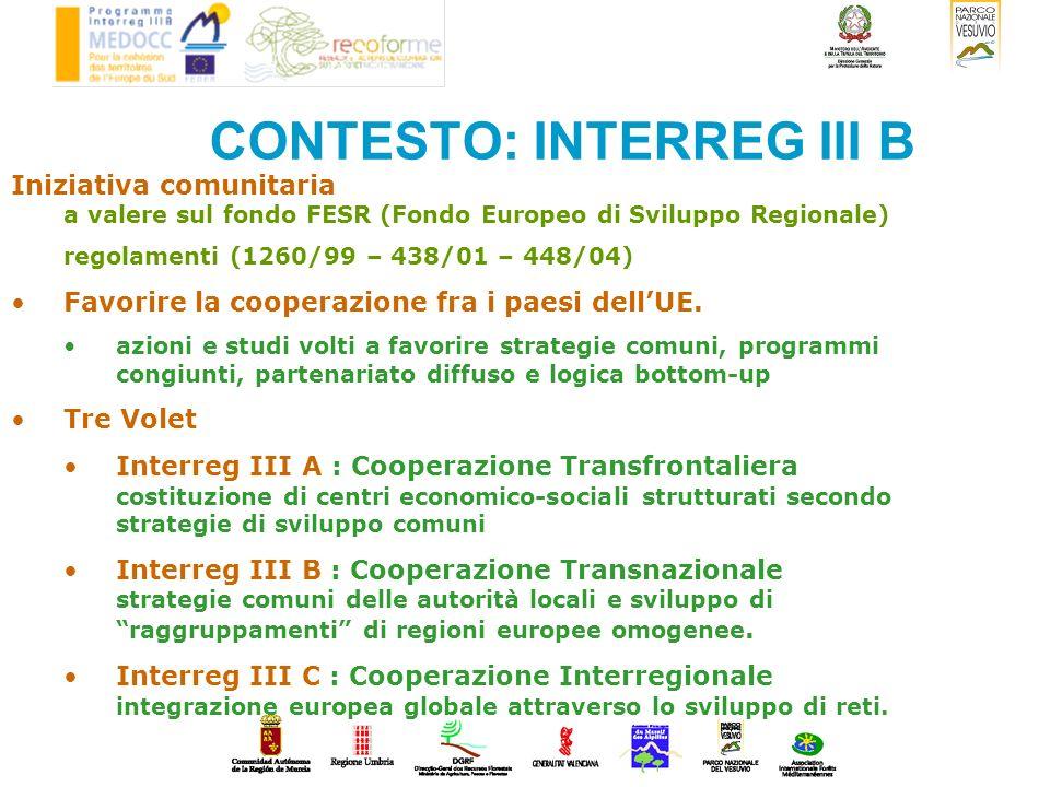 CONTESTO: INTERREG III B MEDOCC SPAZIO MEDOCC Mediterraneo Occidentale : Sud Europa Incrementare la competitività territoriale del sud dell Europa Maggiore integrazione tra le regioni europee dello spazio Medocc ed i paesi terzi del bacino del Mediterraneo.