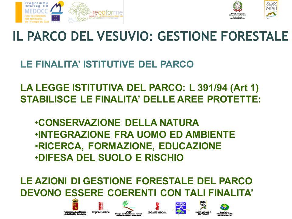 LE FINALITA ISTITUTIVE DEL PARCO LA LEGGE ISTITUTIVA DEL PARCO: L 391/94 (Art 1) STABILISCE LE FINALITA DELLE AREE PROTETTE: CONSERVAZIONE DELLA NATUR