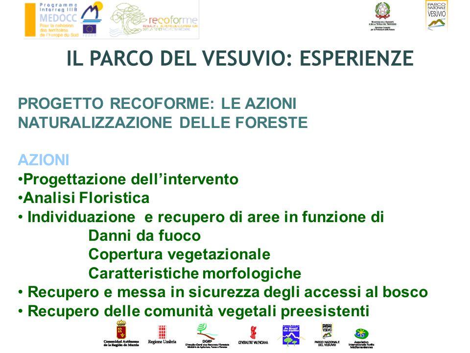 PROGETTO RECOFORME: LE AZIONI NATURALIZZAZIONE DELLE FORESTE AZIONI Progettazione dellintervento Analisi Floristica Individuazione e recupero di aree