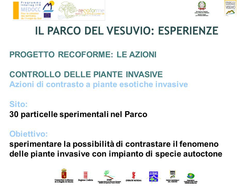 PROGETTO RECOFORME: LE AZIONI CONTROLLO DELLE PIANTE INVASIVE Azioni di contrasto a piante esotiche invasive Sito: 30 particelle sperimentali nel Parc