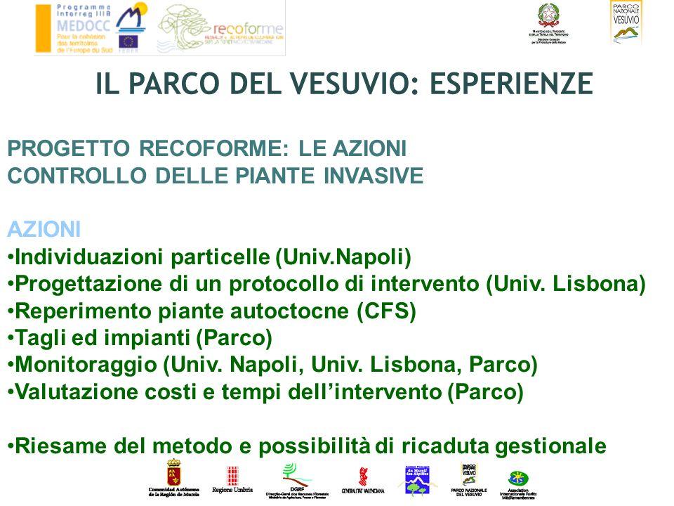 PROGETTO RECOFORME: LE AZIONI CONTROLLO DELLE PIANTE INVASIVE AZIONI Individuazioni particelle (Univ.Napoli) Progettazione di un protocollo di interve