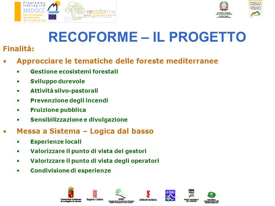RECOFORME – IL PROGETTO Finalità: Approcciare le tematiche delle foreste mediterranee Gestione ecosistemi forestali Sviluppo durevole Attività silvo-p
